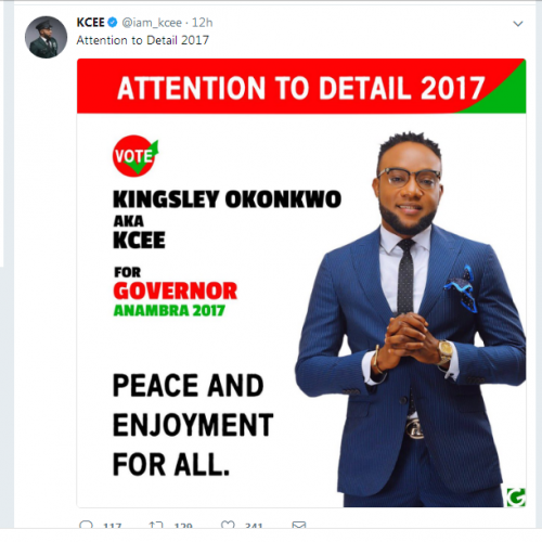 Limpopo Crooner-KCEE declares to run for Anambra Guber Race.