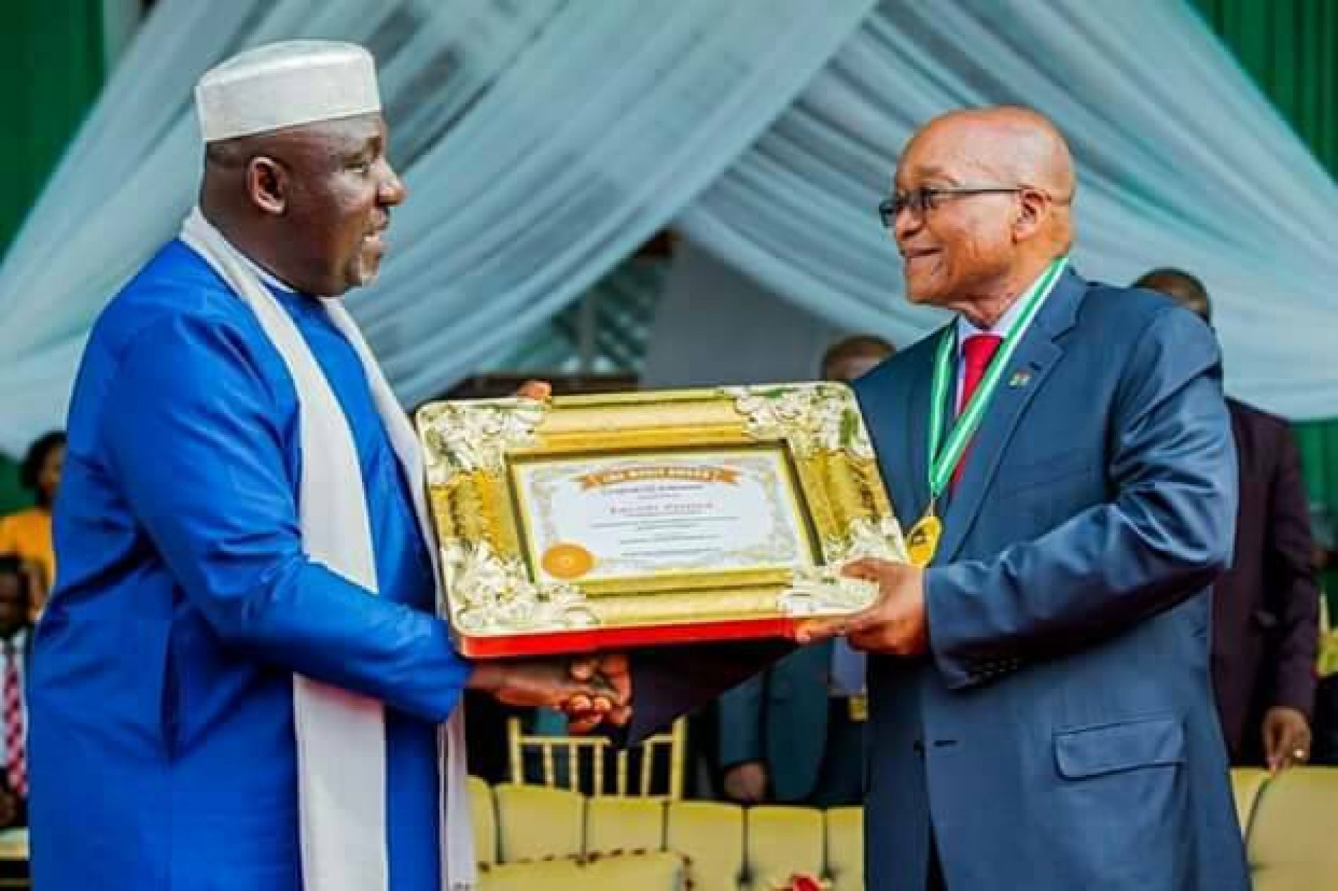 Governor Okorocha partners with President Zuma, honours him with titles, names a road after him in Imo State