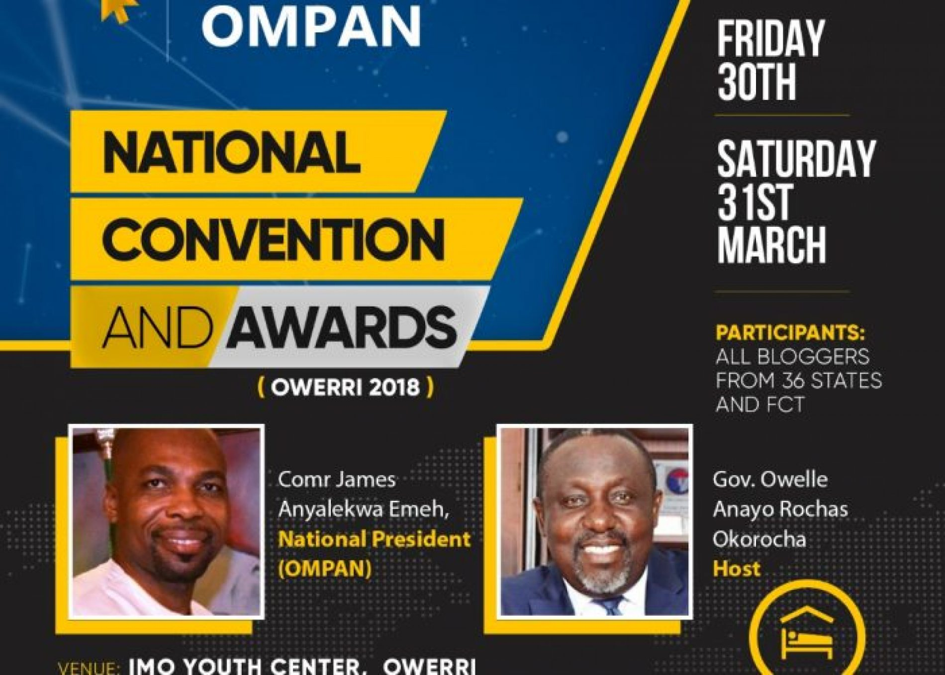OWERRI 2018: Online Media Practitioners Nat. Convention Holds 30-31st March 2018