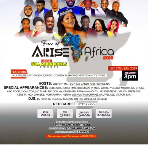 Face of Arise Africa 2019 Awards Lights Up Owerri, Other Cities July 27