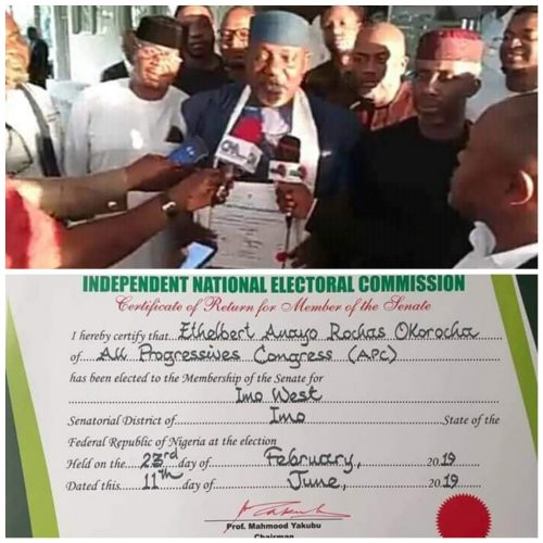 Imo West Senatorial Election: INEC Issues Certificate of Return to Okorocha
