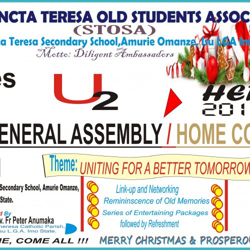 CHRISTMAS: Sancta Teresa Sec. Sch. Old Students Association Holds General Assembly- 28 December 2019