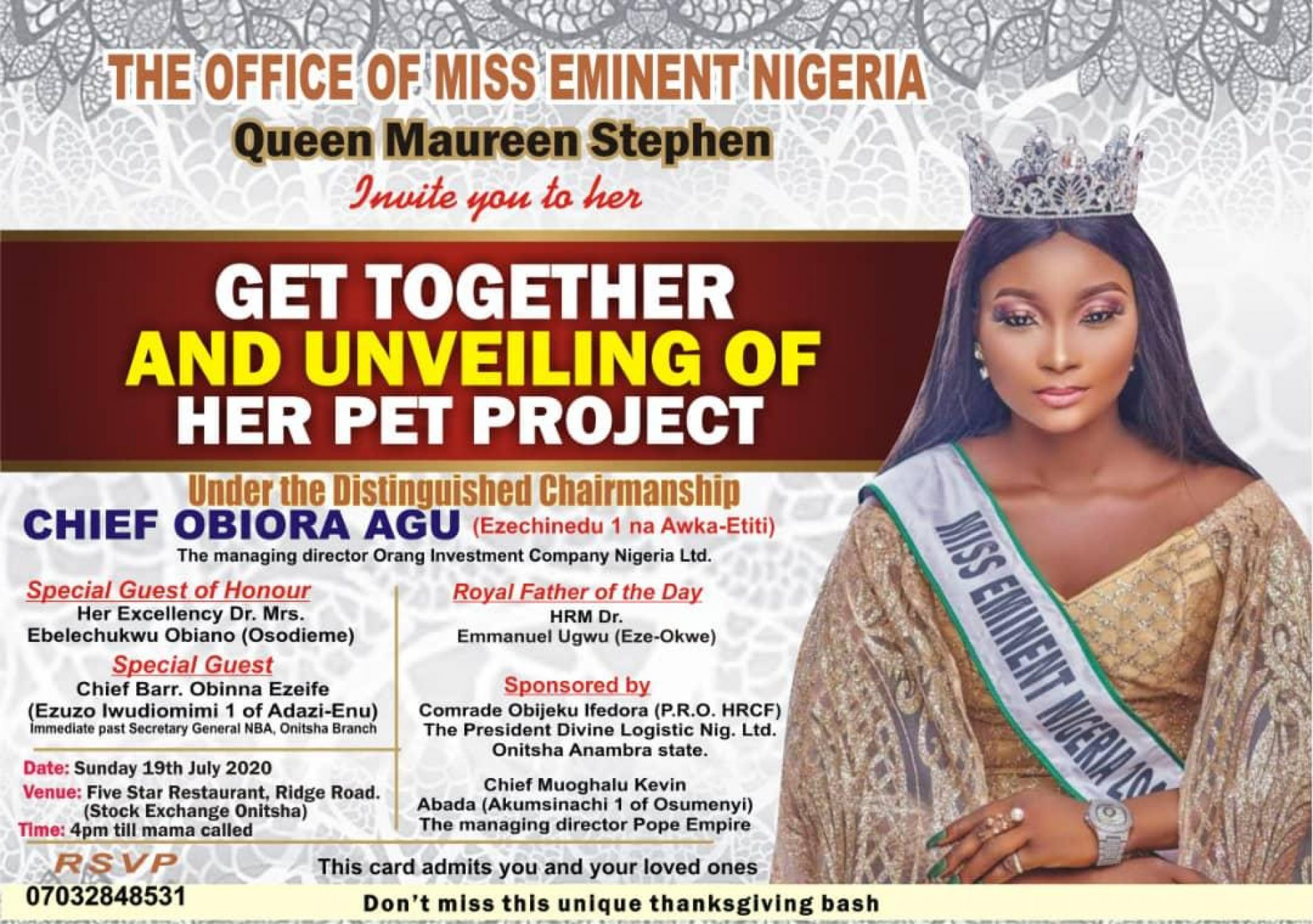 Obiano, Obiora, Ezeife, Notable Others To Attend Queen Maureen Stephen's Pet Project Unveiling Ceremony